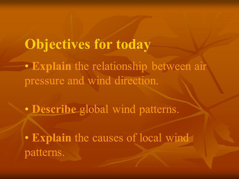 Objectives for today Explain the relationship between air pressure and wind direction. Describe global wind patterns.