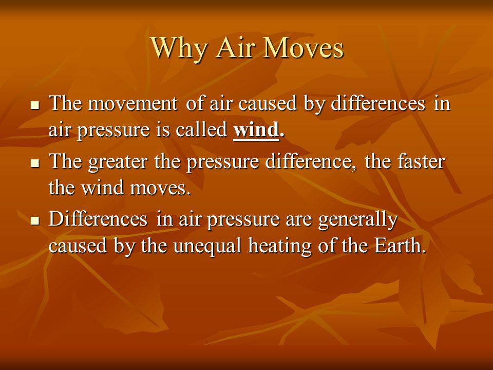 Why Air Moves The movement of air caused by differences in air pressure is called wind.