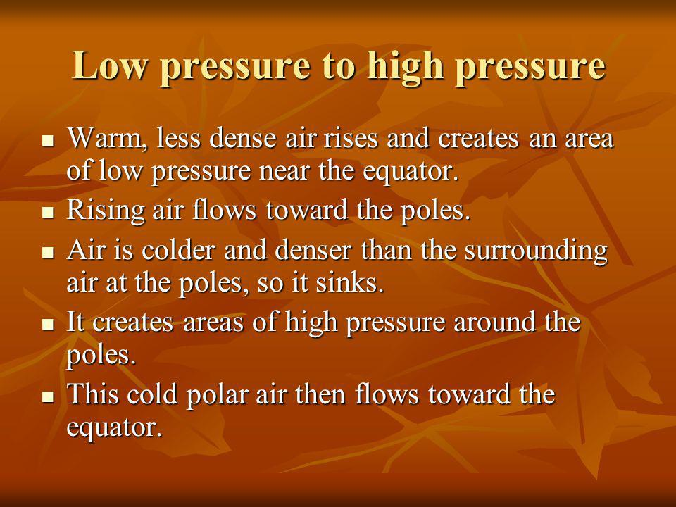 Low pressure to high pressure