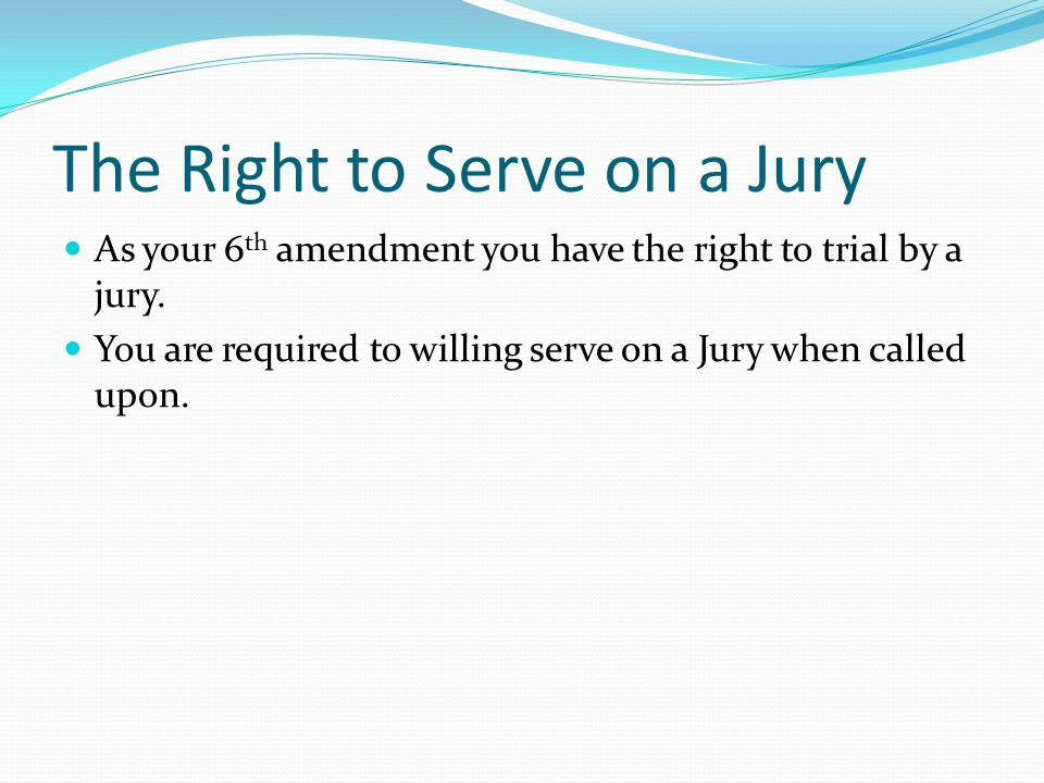 The Right to Serve on a Jury