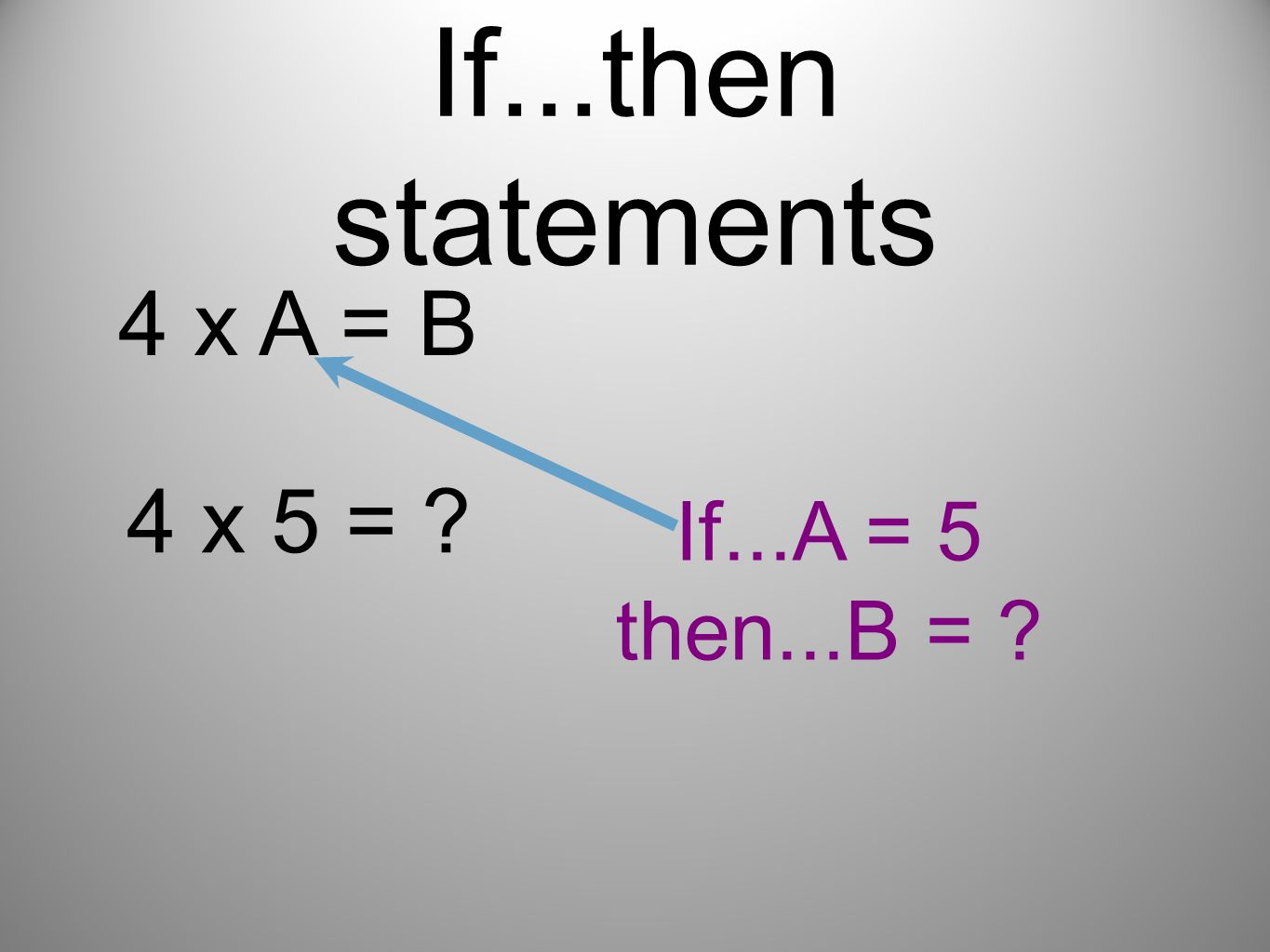 If...then statements 4 x A = B 4 x 5 = If...A = 5 then...B =