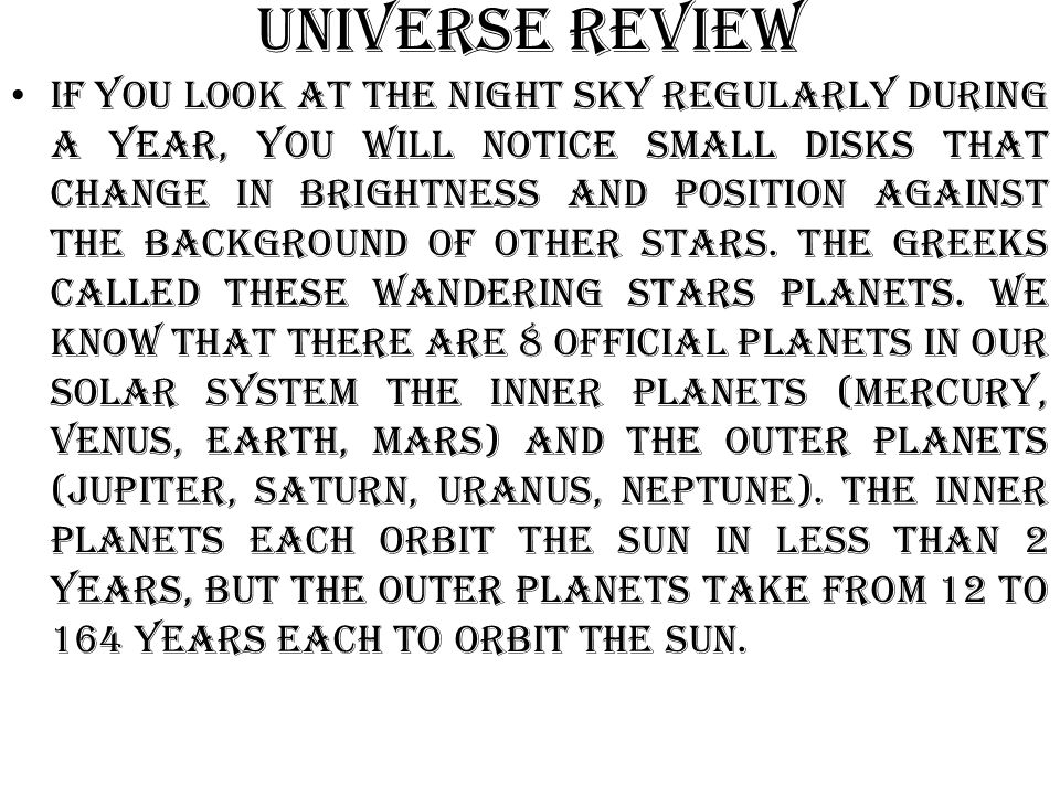 Universe Review