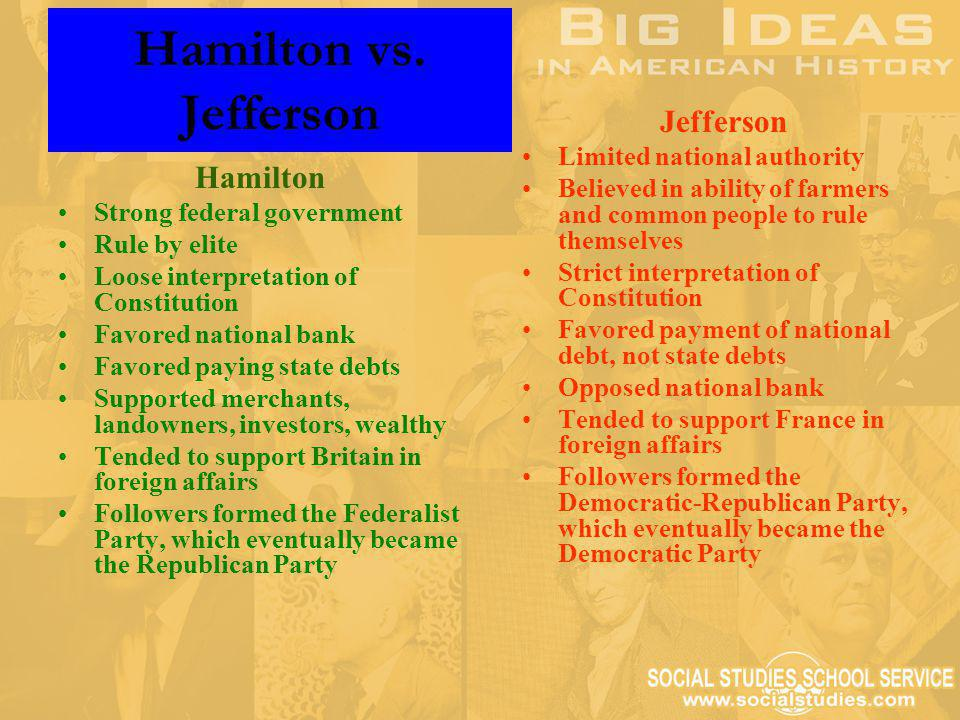 Hamilton vs. Jefferson Jefferson Hamilton Limited national authority
