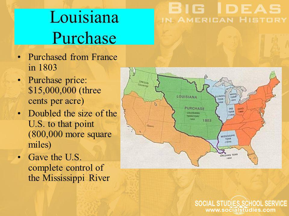 Louisiana Purchase Purchased from France in 1803