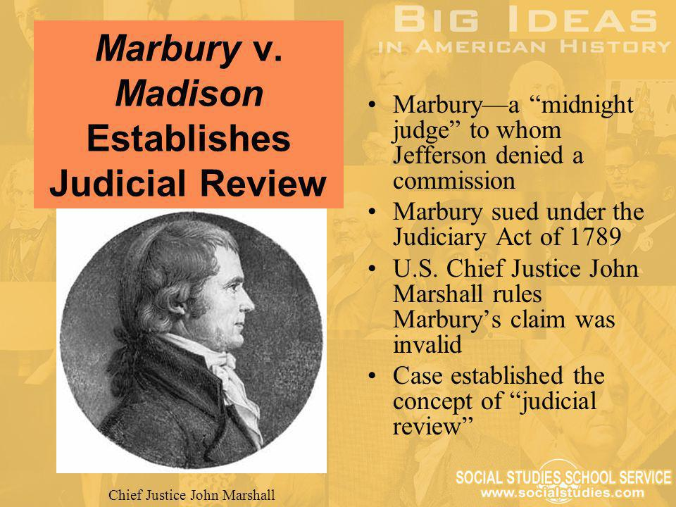 Marbury v. Madison Establishes Judicial Review