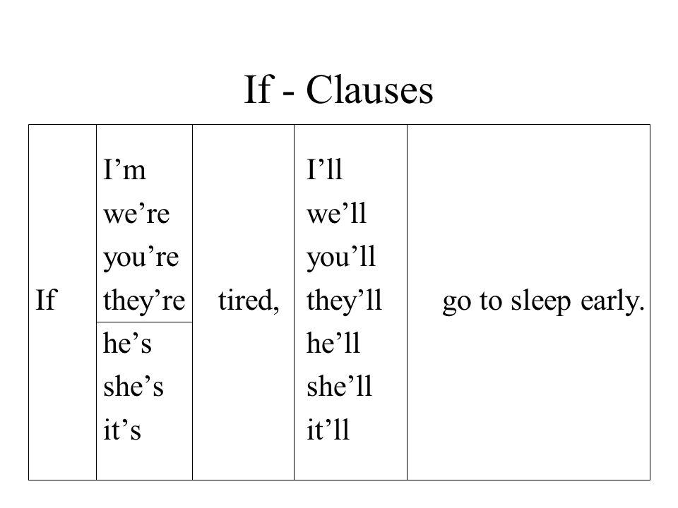 If - Clauses I'm I'll we're we'll you're you'll