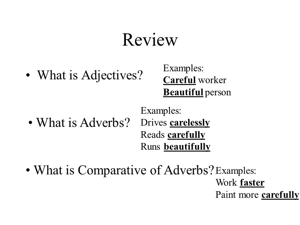 Review What is Adjectives What is Adverbs
