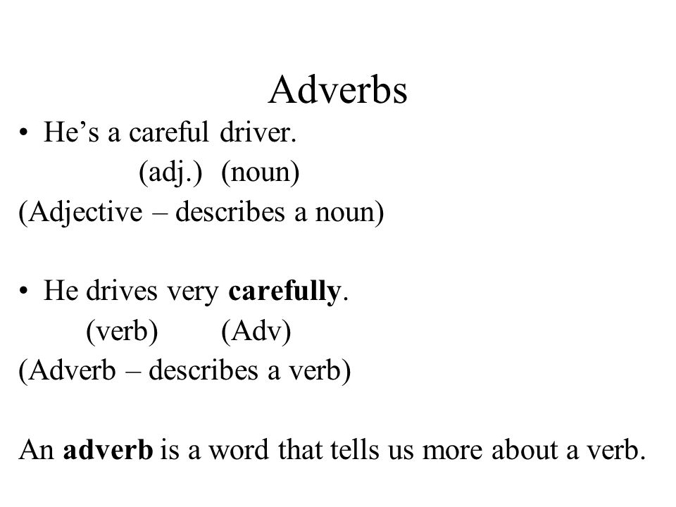 Adverbs He's a careful driver. (adj.) (noun)