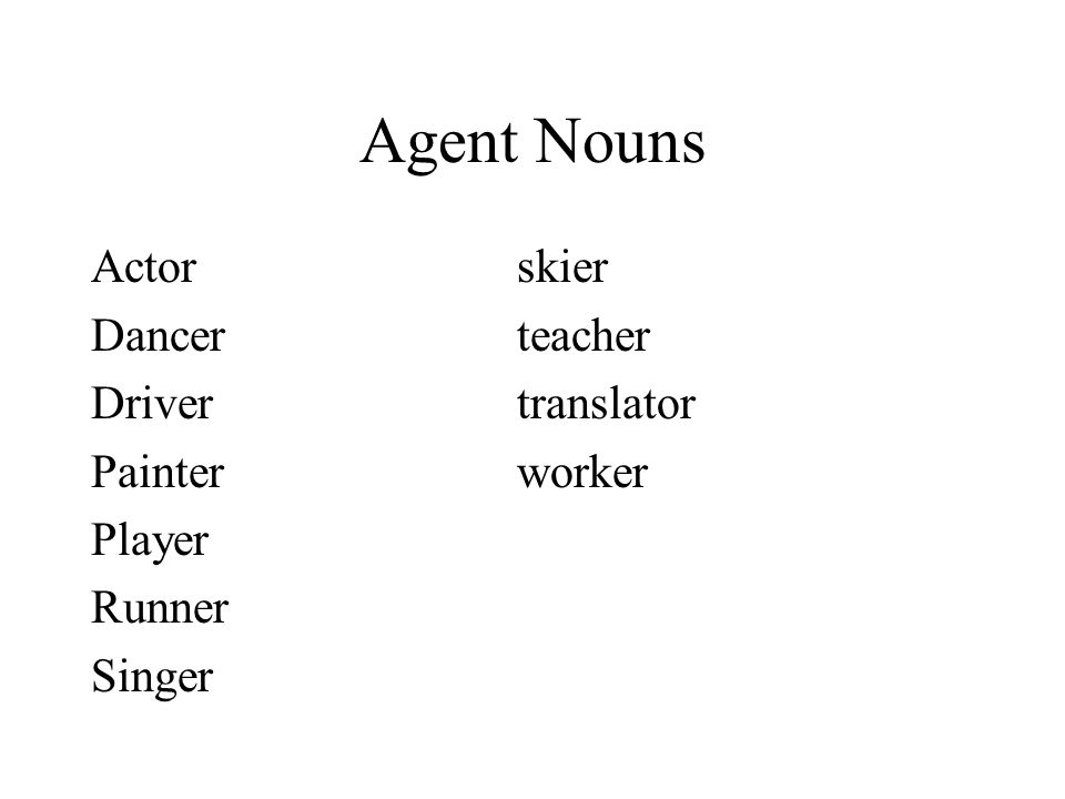 Agent Nouns Actor skier Dancer teacher Driver translator
