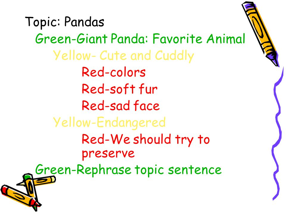 Topic: Pandas Green-Giant Panda: Favorite Animal. Yellow- Cute and Cuddly. Red-colors. Red-soft fur.