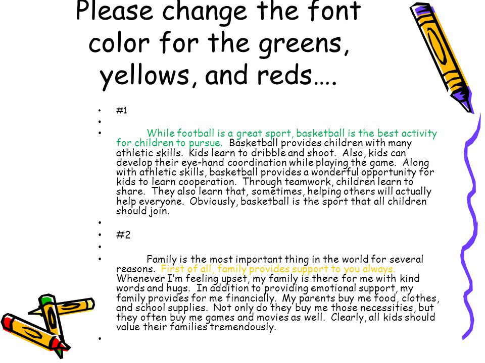 Please change the font color for the greens, yellows, and reds….