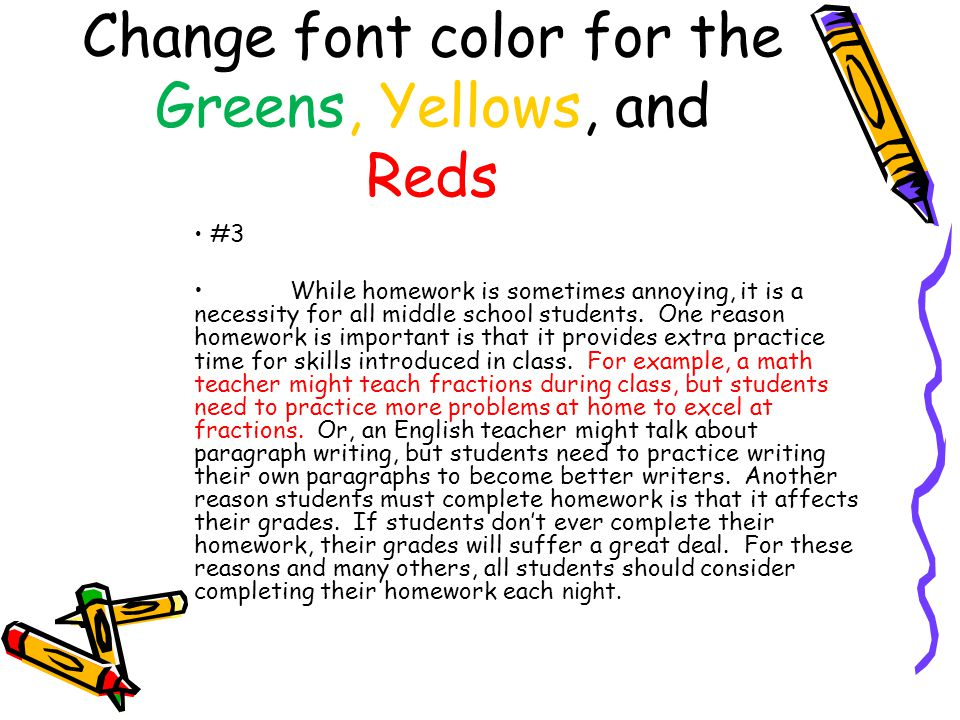 Change font color for the Greens, Yellows, and Reds