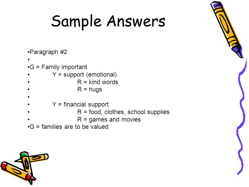 Sample Answers Paragraph #2 G = Family important