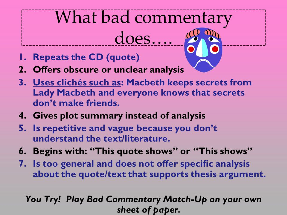 What bad commentary does….
