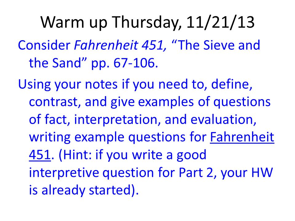 Warm up Thursday, 11/21/13