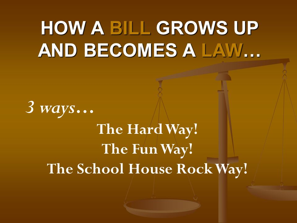 How a Bill grows up and becomes a Law…