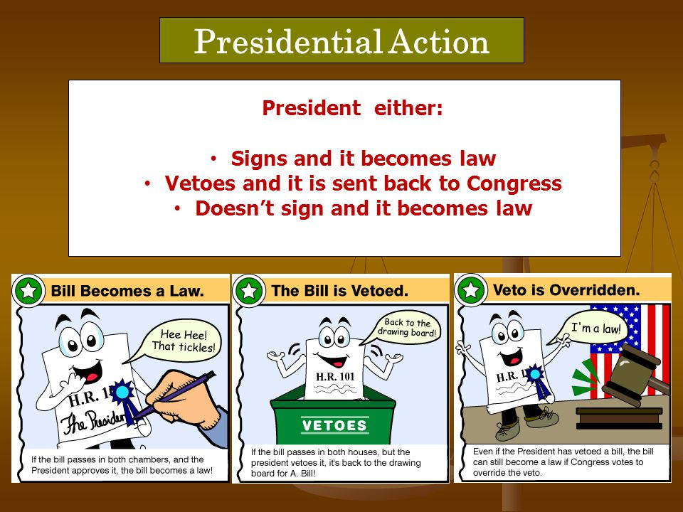 Presidential Action each house will override veto President either: