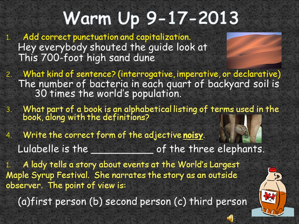 Warm Up 9-17-2013 Hey everybody shouted the guide look at