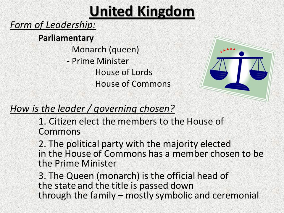 United Kingdom Form of Leadership: Parliamentary