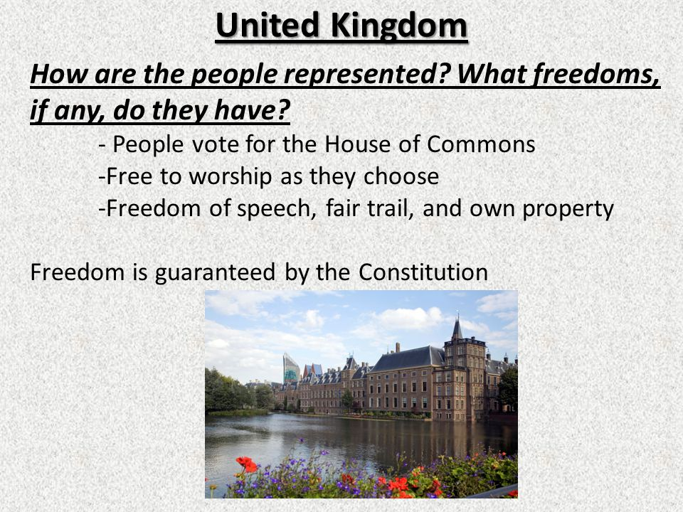 United Kingdom How are the people represented What freedoms, if any, do they have - People vote for the House of Commons.