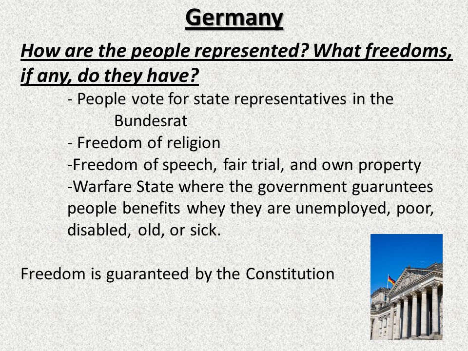 Germany How are the people represented What freedoms, if any, do they have - People vote for state representatives in the Bundesrat.