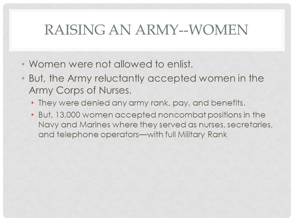 Raising an Army--Women