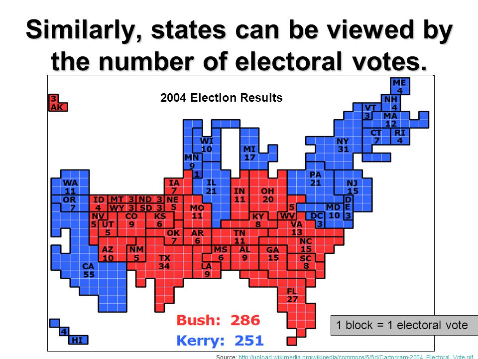 Similarly, states can be viewed by the number of electoral votes.