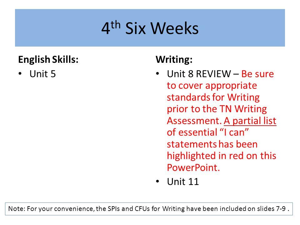4th Six Weeks English Skills: Unit 5 Writing: