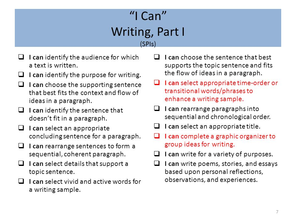 I Can Writing, Part I (SPIs)