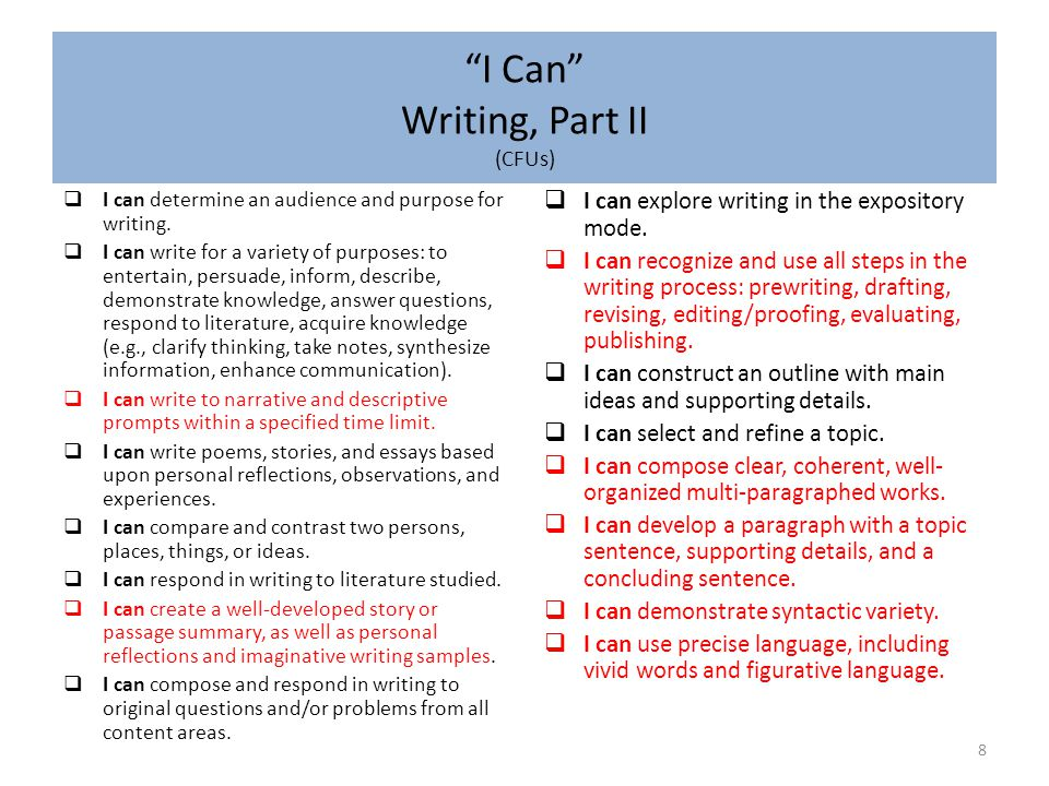I Can Writing, Part II (CFUs)