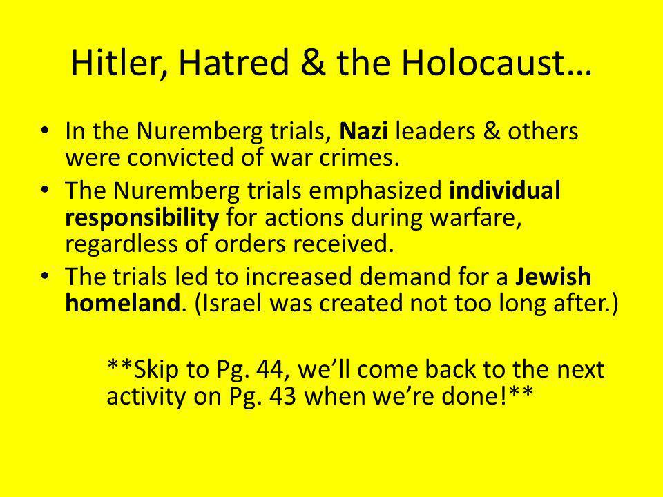 Hitler, Hatred & the Holocaust…