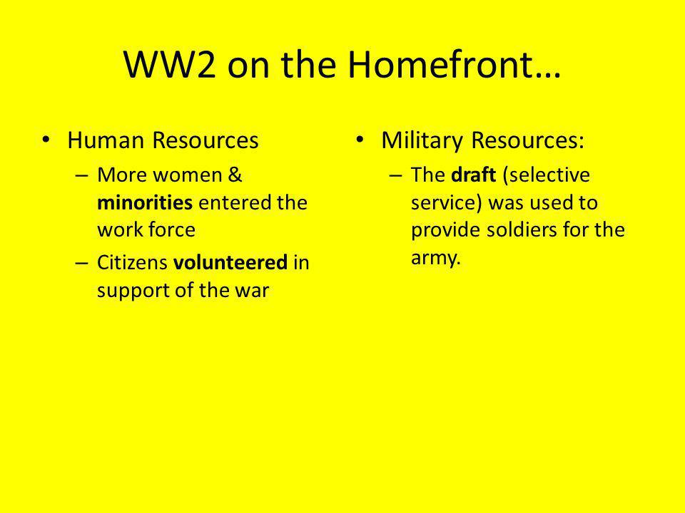 WW2 on the Homefront… Human Resources Military Resources: