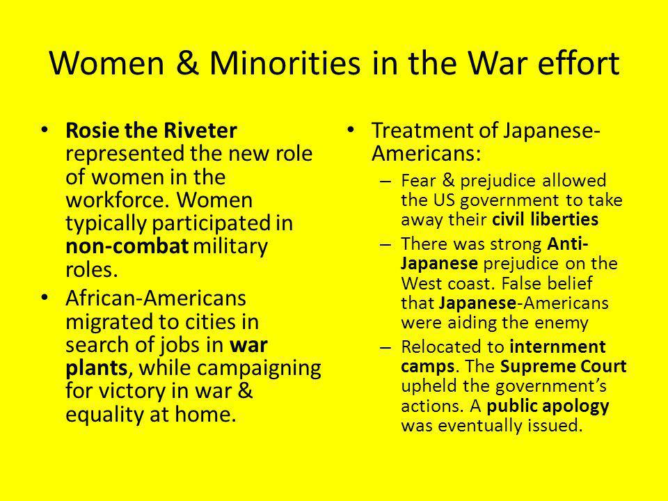 Women & Minorities in the War effort