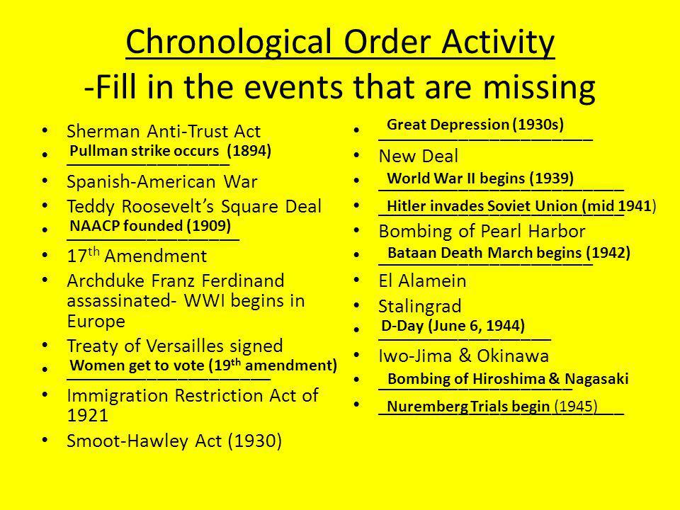 Chronological Order Activity -Fill in the events that are missing