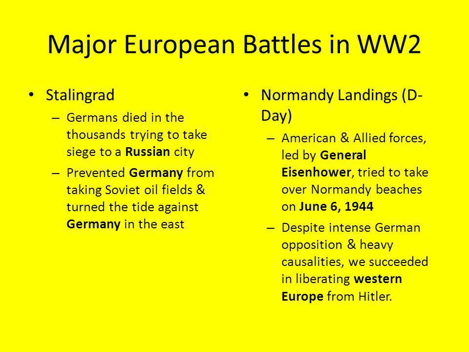 Major European Battles in WW2