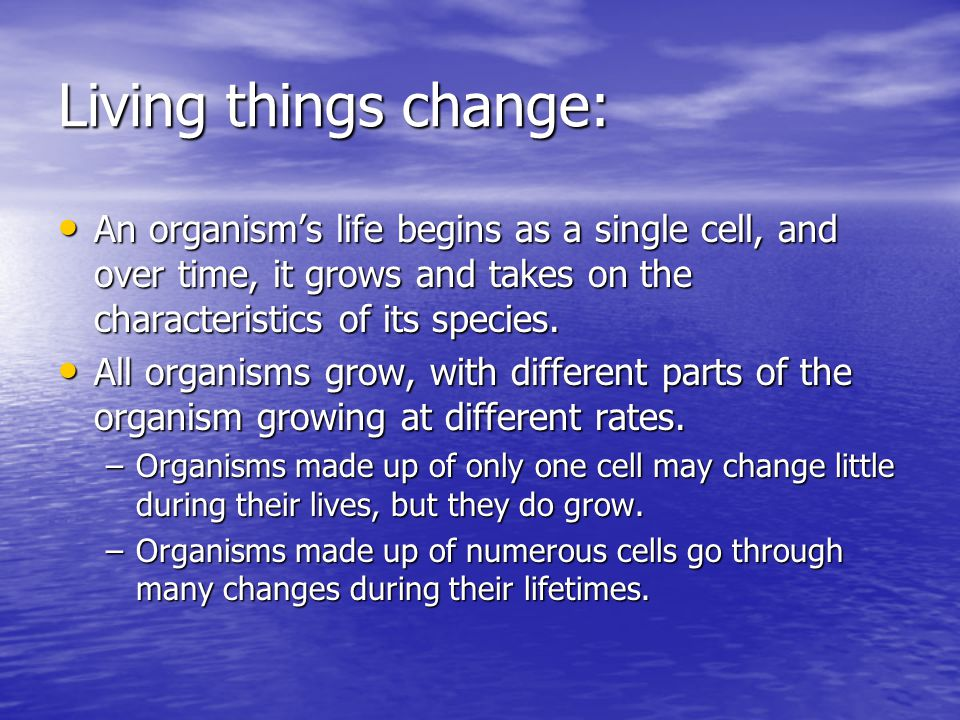 Living things change: An organism's life begins as a single cell, and over time, it grows and takes on the characteristics of its species.