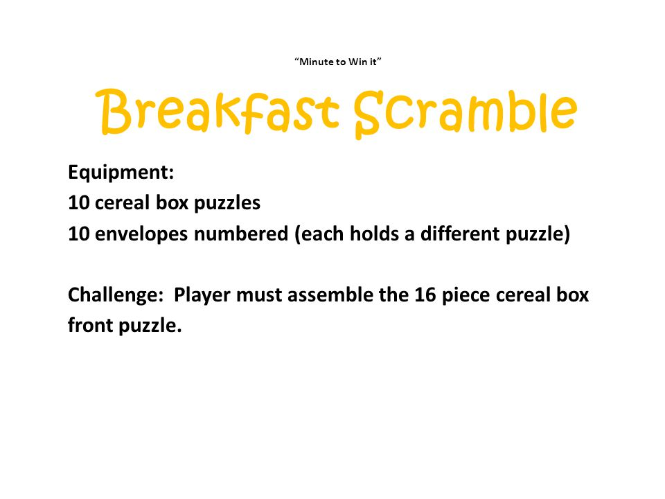 Breakfast Scramble Equipment: 10 cereal box puzzles