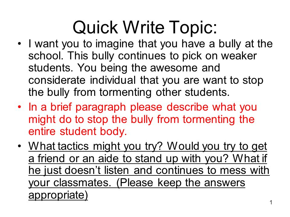 Quick Write Topic: