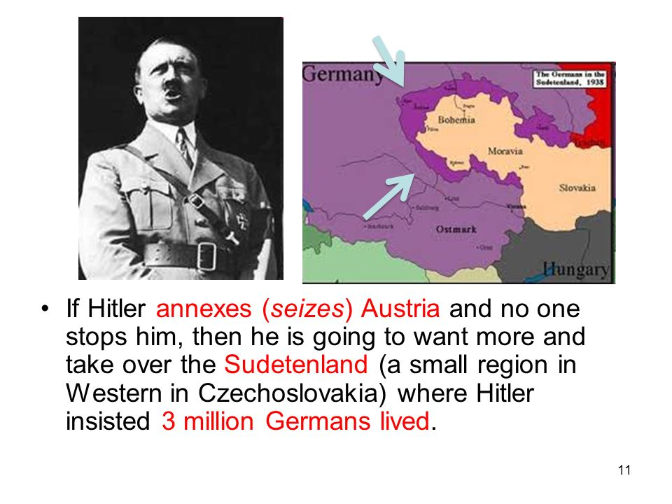If Hitler annexes (seizes) Austria and no one stops him, then he is going to want more and take over the Sudetenland (a small region in Western in Czechoslovakia) where Hitler insisted 3 million Germans lived.