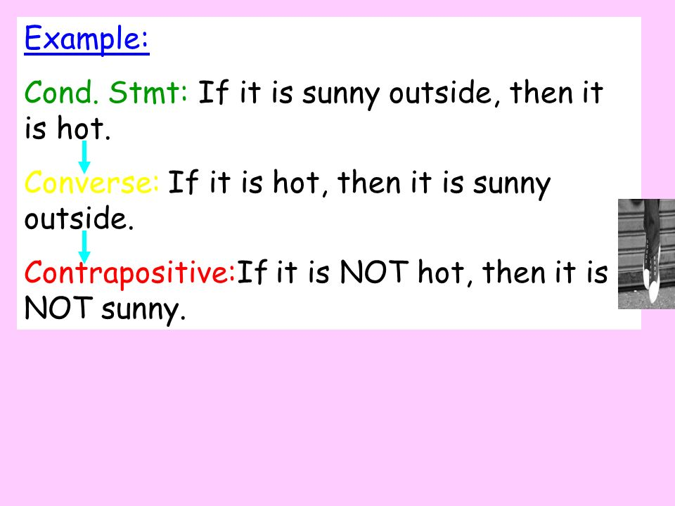 Example: Cond. Stmt: If it is sunny outside, then it is hot. Converse: If it is hot, then it is sunny outside.