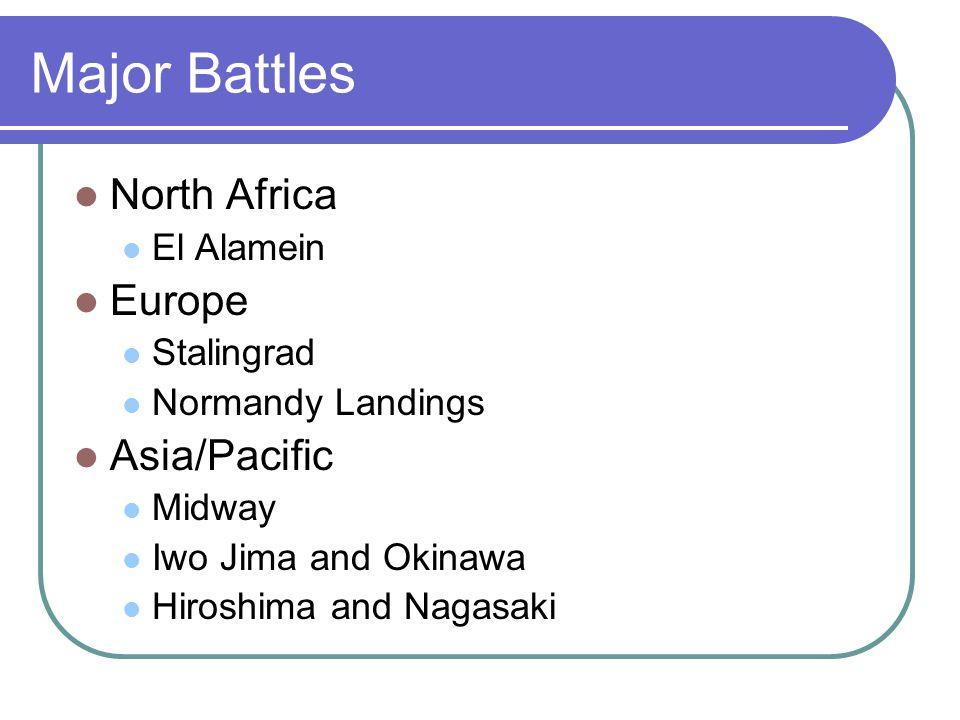 Major Battles North Africa Europe Asia/Pacific El Alamein Stalingrad