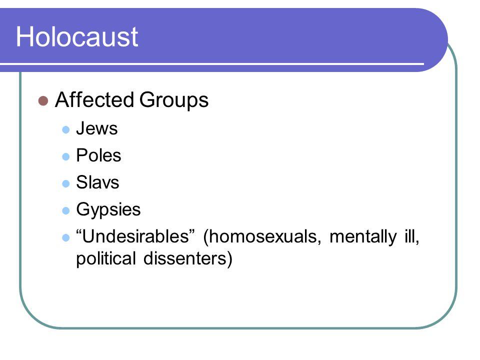 Holocaust Affected Groups Jews Poles Slavs Gypsies