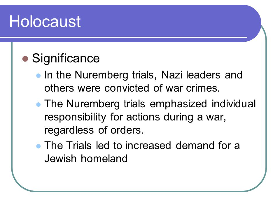 Holocaust Significance