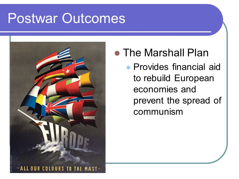 Postwar Outcomes The Marshall Plan