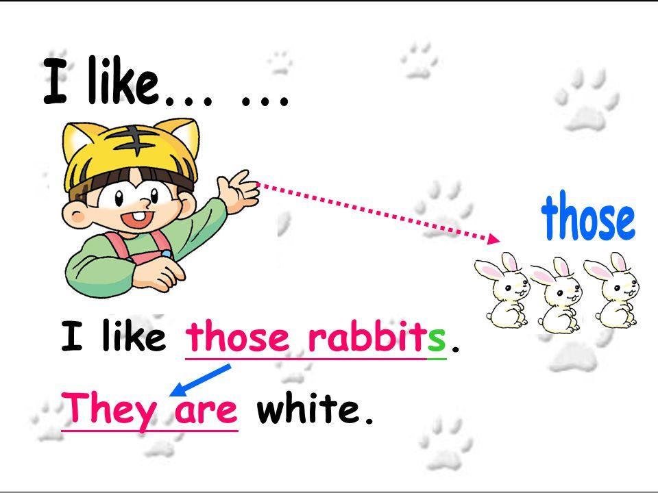 I like... ... those I like those rabbits. They are white.