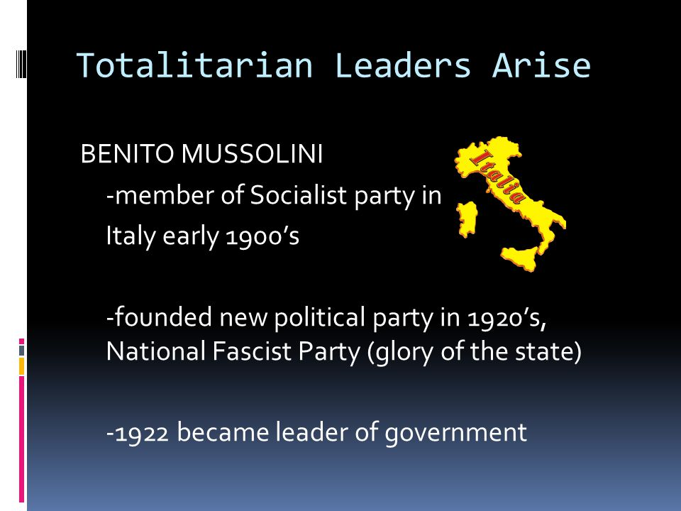 totalitarian leaders italy and spain Activity #2 four infamous, historical totalitarian leaders joseph stalin was one of the undisputed leaders of the union  he was one o the first totalitarian leaders.