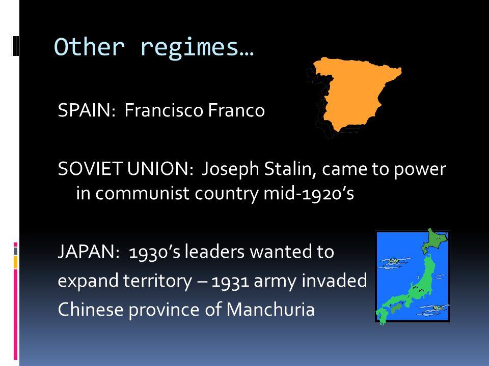 Other regimes…