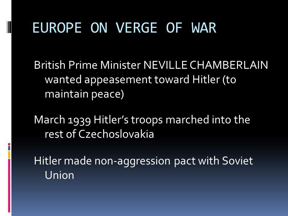 EUROPE ON VERGE OF WAR