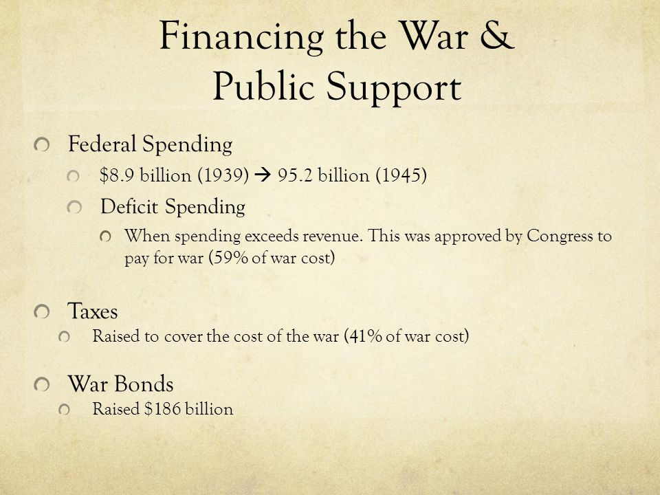 Financing the War & Public Support