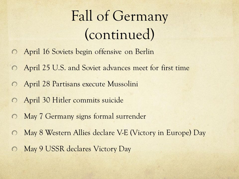 Fall of Germany (continued)